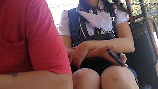 Nagpaboso sa jeep nanaman! college student black panty!