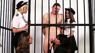 Clothed police women tug
