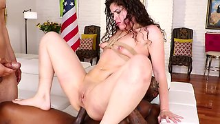 Curly-haired chick gangbanged by white and black friends
