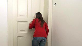 Brunette cutie Serenya Gomez having fun with a cock in the bathroom