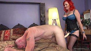 busty redhead mistress dominates his asshole