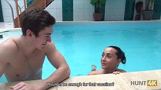 Hunt4k. cuckold doesnt know his lovely brunette sells her
