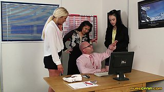 Horny slut Alessa Savage and her friends pleasure their boss