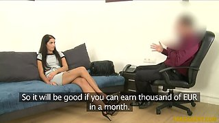 Skinny secretary goes all the way in casting