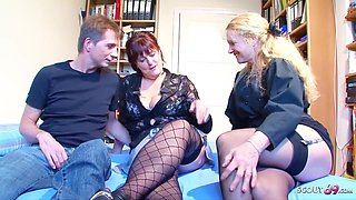 Blond German Mature Seduce Real Old Normal Couple To 3