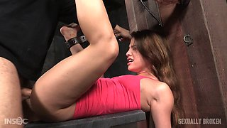 Captured brunette with a shaved cunny and the captor's big black dick