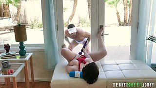 Young chubby girl with F-cup boobs Anna Blaze is fucked by hot pool boy