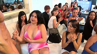 Chicks are engulfing jocks hungrily during stripper party