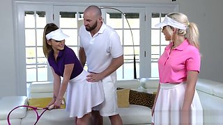 Horny Stepsisters In Tennis Uniforms Go to Idols House and Fuck Him