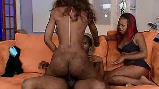 Mom teaches daughter to fuck a thick black cock!