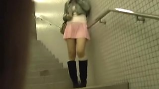 Public spy camera video of oriental chicks in up skirts