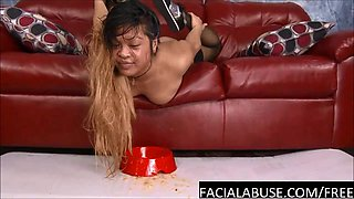Throated Asian cunt gets a classic Facial Abuse treatment
