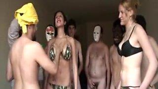 Busty bimbos enjoy great bukkake orgy