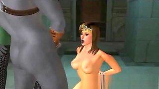 Sexy 3d cartoon queen sitting in her throne