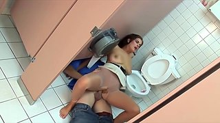 Dude Fucks A Pussy Through Lacy Pantyhose On A Toilet Floor