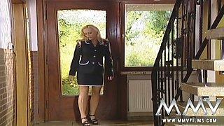 Busty blond haired hottie is gonna seduce her next door man at kitchen