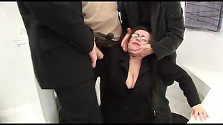 Wife forced gangbang in the bathroom