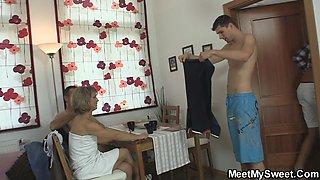 Mature couple seduce sons GF into threesome