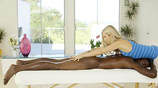 Beautiful blonde loves massaging BBC