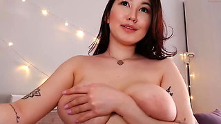 chubby Asian girl squirting on camera, sex toys