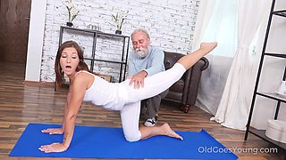 Fresh gal gets properly fucked doggy by still capable old pervert
