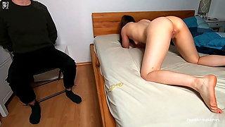 Tied BF Tricked. Cuckold Stranger Removes Condom - Creampie