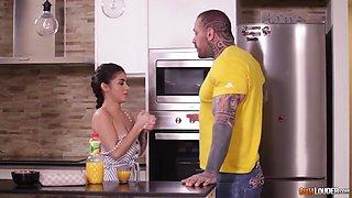 Tattooed hunk is fucking his best friends slutty girlfriend, Aysha in the kitchen and enjoying it