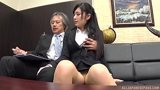 Clothed Japanese gets the boss to fuck her in the ass