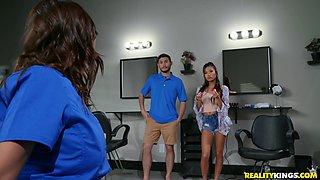 Hot MILF Alexis Fawx enjoys a hookup with young Vina Sky