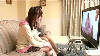 Asian Japanese mom watch porn TV with her daughter to see what happens
