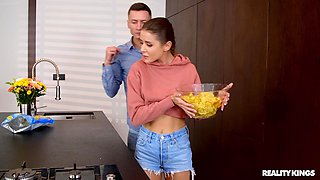 Hardcore fucking in the kitchen ends with a facial for sexy Sybil