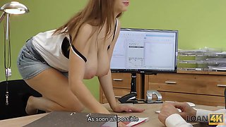 LOAN4K. Dirty sex on the desk happens because of a scratch on car