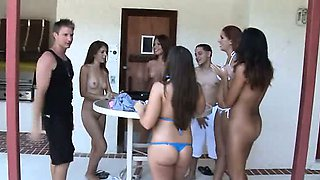Teen pool party ends up with raunchy fucking