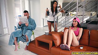 Stepdad plowing stepdaughters ASian pussy from below beside her mom
