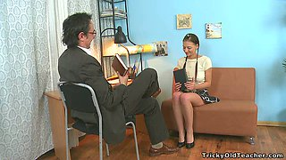 Lovely pigtailed teen gives blowjob to horny aged man