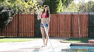 Pool Girl Eliza Ibarra  s MFM Sloppy Gaggin   Session