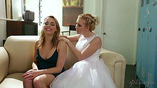 Bride seduces lovely bridesmaid Mia Malkova and licks her yummy pussy