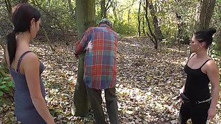 2 cruel german brats spank grandpap tommy outdoor