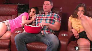 Two step daughters takes turns on fucking step dad on movie night
