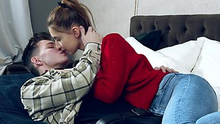 Sweet girlfriend Iris Kiss Kiss gives head and gets fucked good