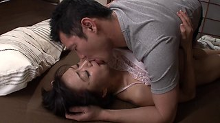 Japanese milf seducing her step son for some intense pussy bashing