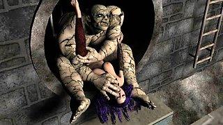 Scary Ogres Team Fuck 3D Cuties!