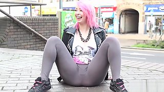 Pink hair slut flashing in public