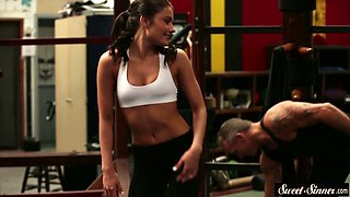 young stepdaughter cockriding at the gym segment