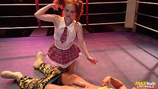 Hardcore fucking in the ring with a cum loving redhead model
