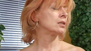 Excited granny Lady stripping blue panties and fingering