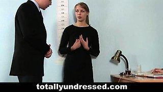 Dildo job interview for a secretary