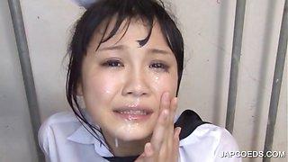 Facial cumshot with asian student