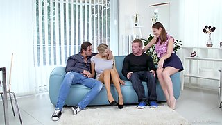 On Sofa - Blonde Euro Girls In Foursome Orgy With Mouthful Cumshots