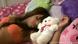Sleeping ebony babe receives a hard dick